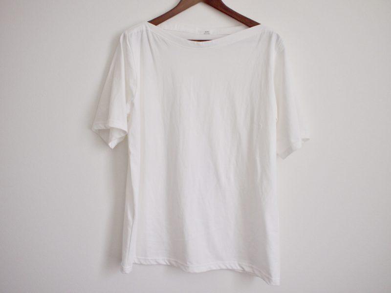 ハーフスリーブボートネックTシャツ