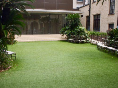 芝生が特徴的な中庭