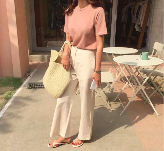 モダールブレンド半袖Tシャツ(ピンク)
