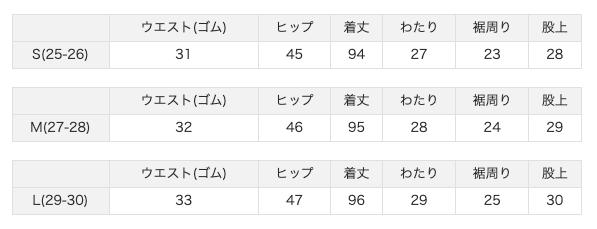 S,M,Lの3サイズ表