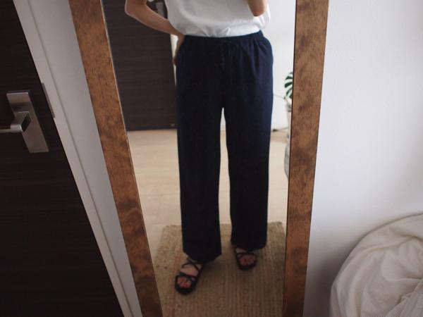 リネン混リボンワイドパンツの着用画像